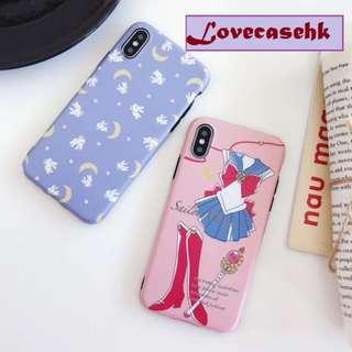 手機殼IPhone6/7/8/plus/X : 月野兔美少女戰士全包黑邊磨砂軟殼