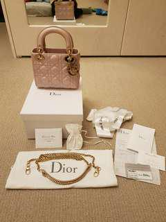 Authentic Lady Mini Dior in Pearly Pink Lambskin