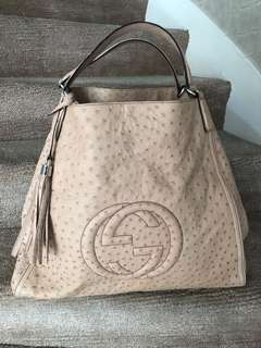 Gucci Ostrich Soho Large Tote Bag
