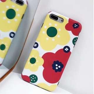 手機殼IPhone6/7/8/plus/X : 文藝小清新花朵全包黑邊磨砂軟殼