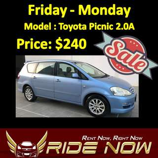 $240 Toyota Picnic 2.0A Weekend SALE