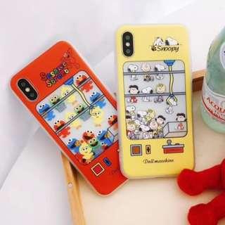 手機殼IPhone6/7/8/plus/X : 芝麻街/史努比夾娃娃機全包邊軟殼