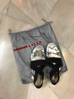 Authentic PRADA silver black elastic flat sandals *SALE*