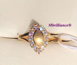 Marquise design Cz stones gold ring 22k / 916 solid gold by Mbrilliance