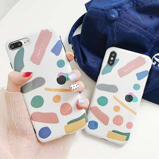 (C)手機殼IPhone6/7/8/plus/X : 韓風創意幾何塗雅全包黑邊光面軟殼