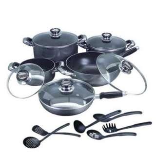 16-piece Non-Stick Complete Cookware Set (Black)