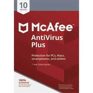 McAfee Antivirus Plus 2018 1 year subscription serial key UNLIMITED device