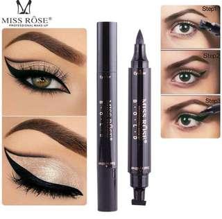 💄 Miss Rose Waterproof Magic Eyeliner & Seal Winged Duo Eyeliner Stencil Stamp 2 In 1