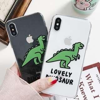 (C)手機殼IPhone6/7/8/plus/X : 可愛小恐龍全包邊透明軟殼