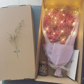 🌸「Dream Galaxy」Romantic Korean babysbreath Bouquet➕wishing bottle➕flower box💕best Valentine gift✨with/without fairy lights✨