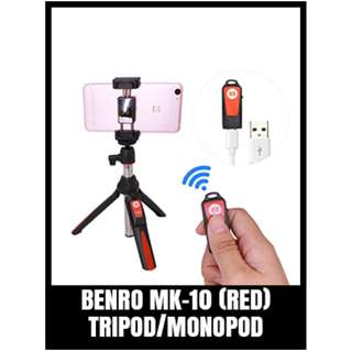 BENRO MK-10 MONOPOD WITH STAND AND REMOTE-RED