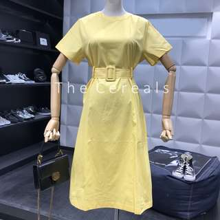 TC2529 Korea Belted Retro Trench Dress (Yellow,Black)