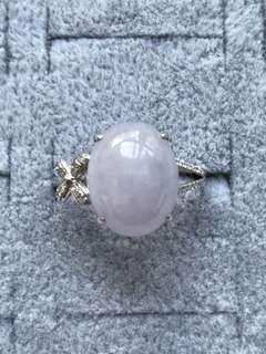 紫羅蘭18K白金鑲鑽石戒指(附證)