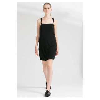 Mango 黑色 方領 無袖 後背 交叉 肩帶 及膝 無袖 洋裝 XS