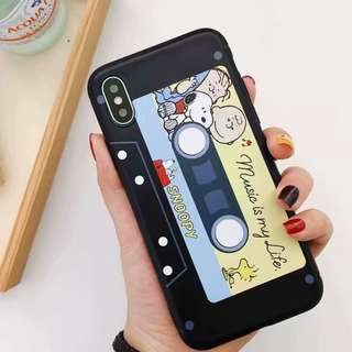 (W)手機殼IPhone6/7/8/plus/X : 磁帶史努比全包黑邊軟殼