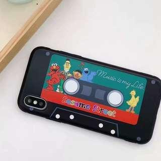 (W)手機殼IPhone6/7/8/plus/X : 磁帶芝麻街全包黑邊軟殼