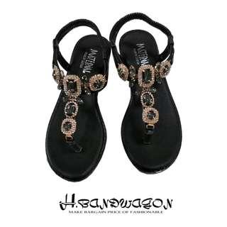 【H.BANDWAGON】韓版華麗寶石彈力後拉式夾腳平底涼鞋