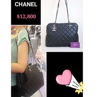 95% New CHANEL 深藍色 羊皮 菱格 肩背袋 手袋 CC Logo  Navy Blue Lambskin Handbag with Silver Hardware