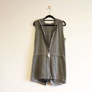 (M) Casual Grey Cotton Romper