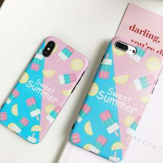 (W)手機殼IPhone6/7/8/plus/X : 夏日雪糕全包黑邊光面軟殼