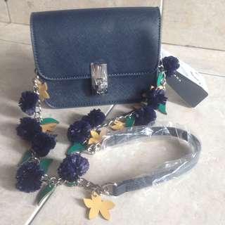 Zara Navy Pompom Sling Bag