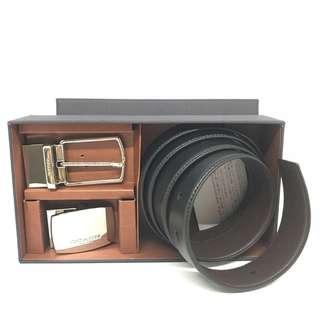 Coach Men Belt set Black/ Brown Smooth Leather