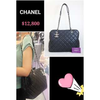 95% New CHANEL 深藍 羊皮 菱格 肩背袋 手袋 CC Logo Navy Blue Lambskin Handbag with Silver Hardware