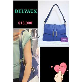DELVAUX Givry Polo Smooth 藍色 皮革 金扣 肩背袋 手袋 Blue Leather Shoulder Bag with Gold Toned Hardware
