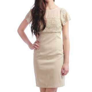 Brand New - Kristine's Felix Floral Crochet Dress in Latte (Size M)