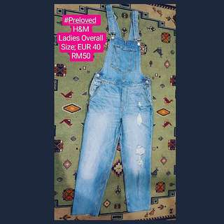 H&M Ladies Ripped Overall Denim