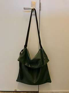 Porter International N Hollywood Green Faux Leather Shoulder Bag with Adjustable Shoulder Strap