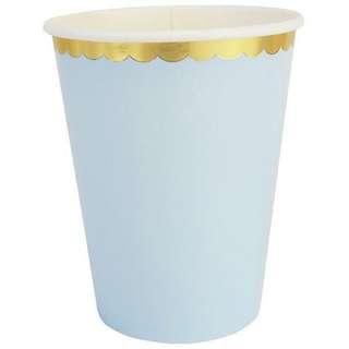 Blue scallop gold foil disposable party cups