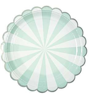 Green striped disposable party plates