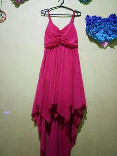 Pink Long Back Dress