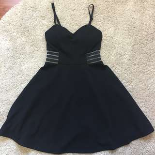 Black Dress with Mesh Inserts