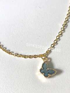 Butterfly Charm / Natural Mother of Pearl Necklace
