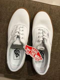 🚚 全新Vans era全白焦糖底帆布鞋