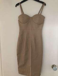 Faux leather nude midi dress