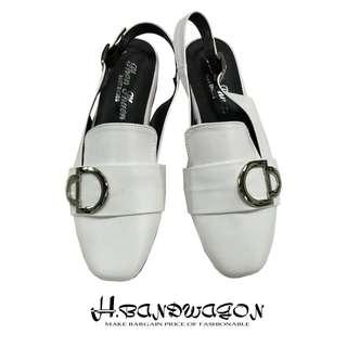 【H.BANDWAGON】時尚馬蹄釦後拉式繫踝低跟小方頭穆勒鞋 涼鞋 拖鞋