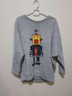 Cute grey jumper with robot