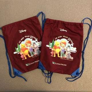 全新 Cathay Pacific 國泰航空 x Winnie the Pooh 小熊維尼 小朋友 索袋 背包 背囊 小物袋