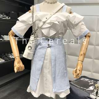 TC2537 Korea 2 Pieces Frill Dress + Checked Buttons Skirt (Blue,Black)