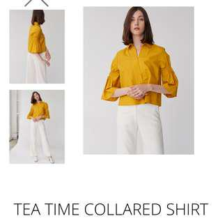 🚚 BNWT Collate x Disney Tea Time Collared Shirt in Mustard Size L