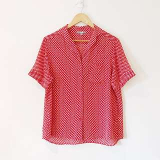 Uniqlo Red Printed Button Down Shirt