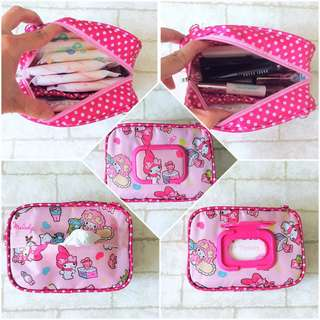 🚚 WET AND DRY Pocket Tissue cum Cosmetic Pouch | WET AND DRY Pocket Tissue Pouch | Cosmetic Pocket Wet and Dry Melody Design 2B04