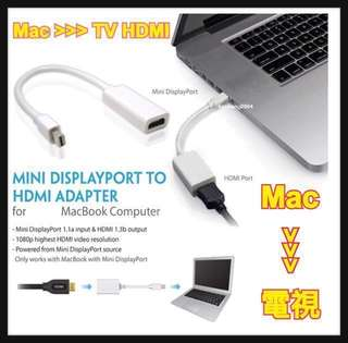 Up to 4K!!  Mac to TV Cable 電視線 Minidisplay / Thunderbolt Port for Apple Macbook mirroring to HDMI TV / Projector / Monitor , self plug / embedded HDMI cable 自插線版 / 帶線版 , No delay No Latency 無延遲 超流暢輸出畫面 Microsoft Surface 3 Pro 3 4 Pro 2017 Book Laptop 通用