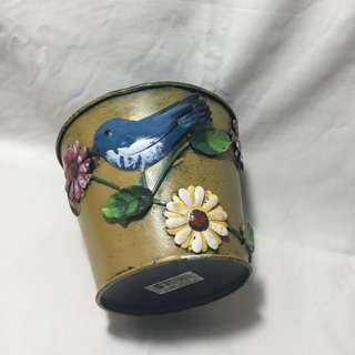 Wide Bird and Flower Pot or Container