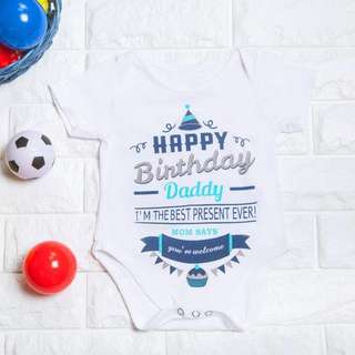 🚚 Instock - happy birthday daddy romper, spring summer 2018 collection