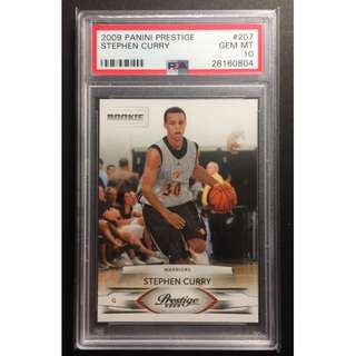 Stephen Curry Rookie Card 2009 Prestige GSW Graded by PSA