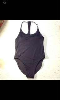 One piece black swimsuit racer back type
